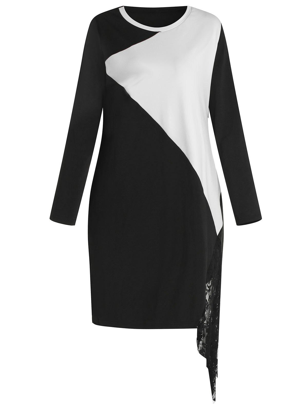 Plus Size Lace Spliced Color Block Long Sleeves Bodycon Dress
