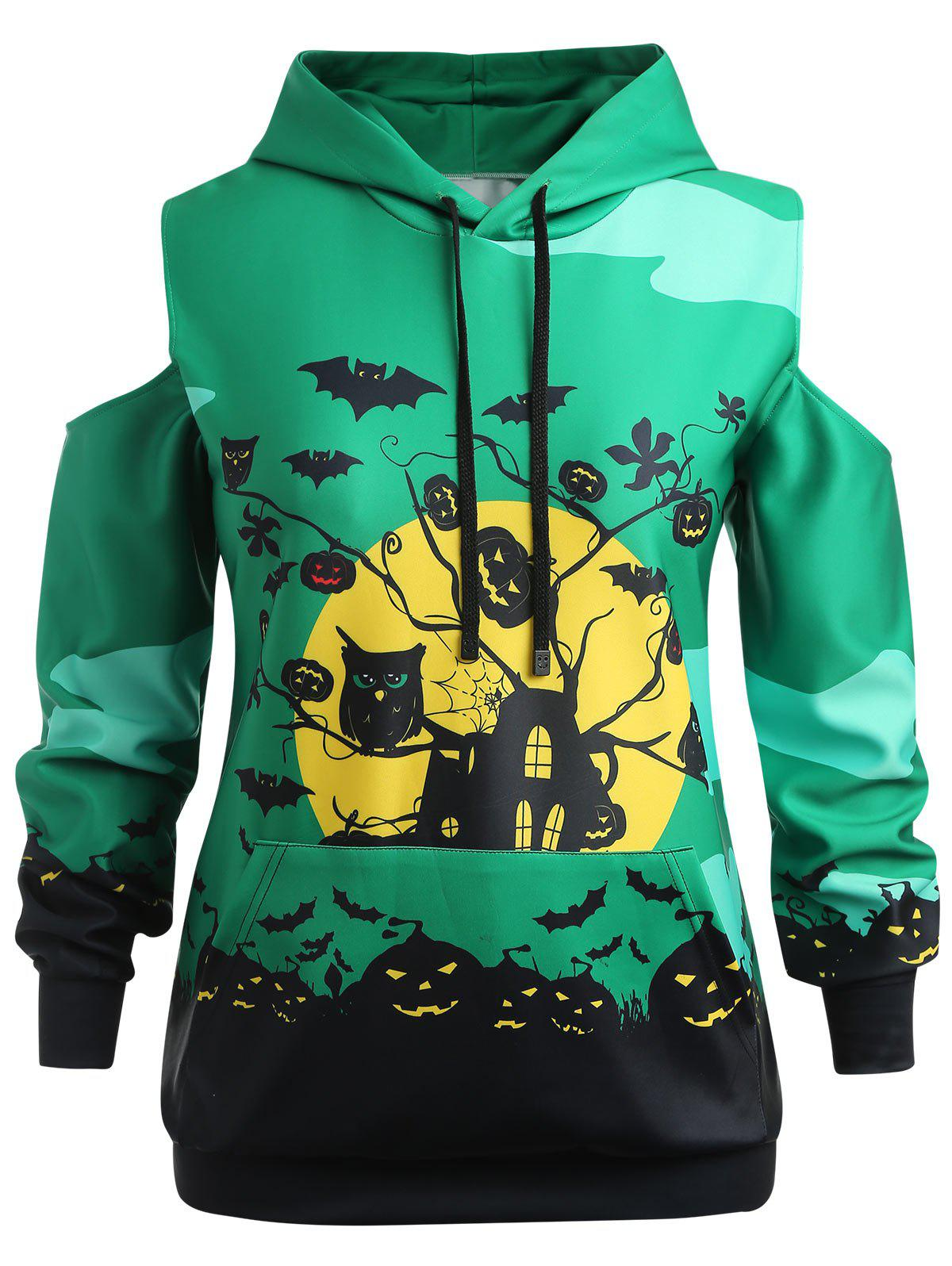 New Plus Size Halloween Cold Shoulder Hoodie