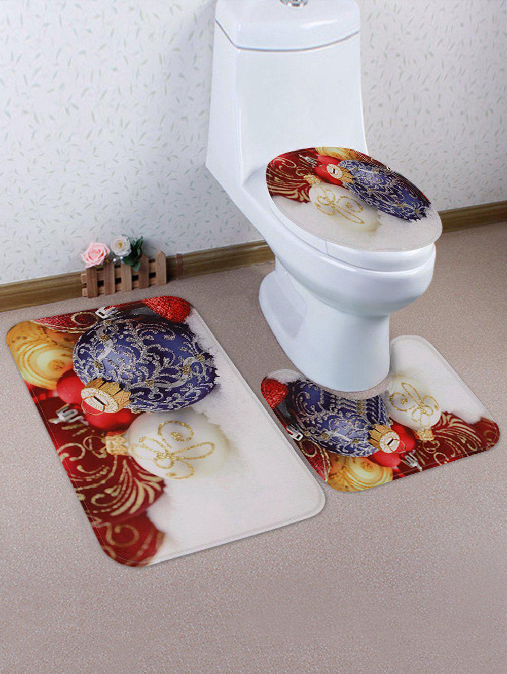 Latest Christmas Baubles Printed Toilet Rug Set