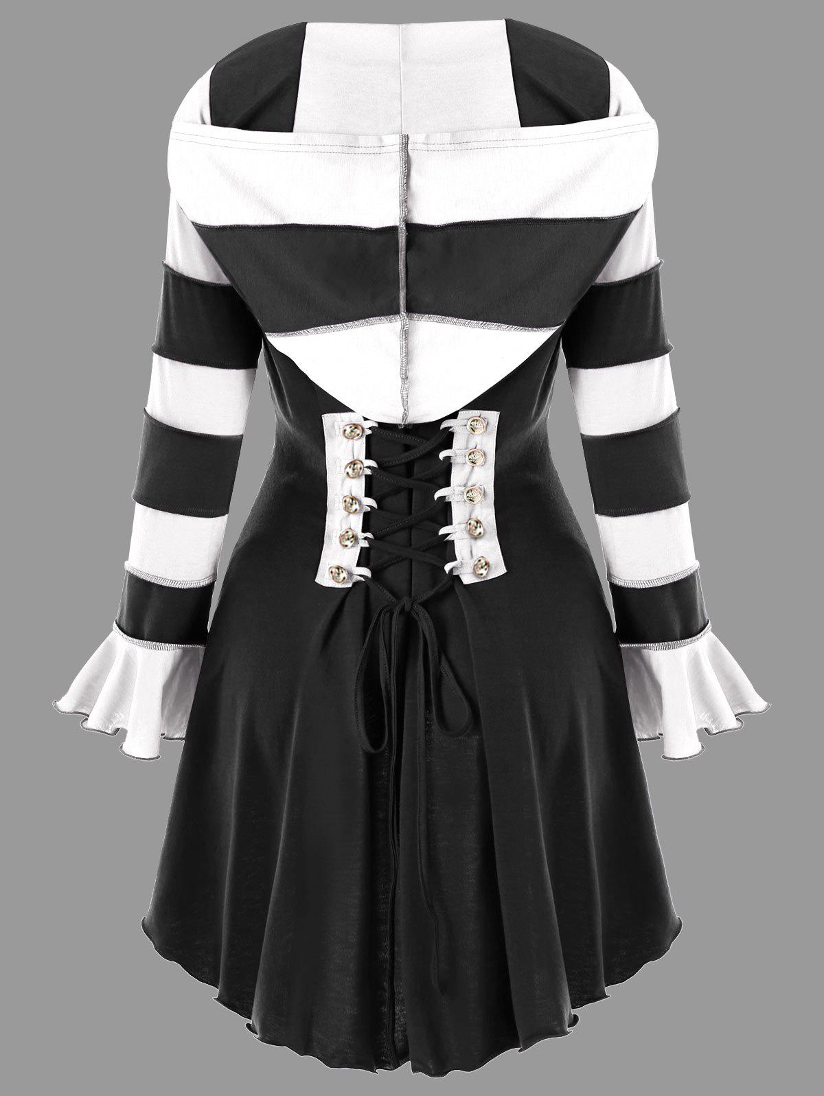 Unique Hooded High Low Corset Double Breasted Coat