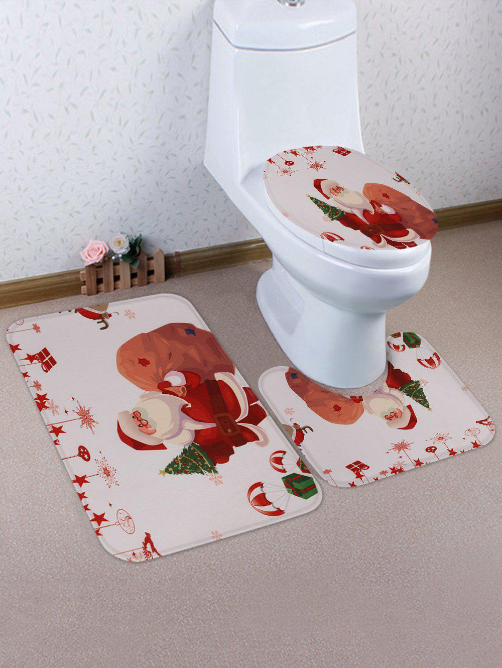 Outfit Santa Claus Gift Printed Christmas Decorative Toilet Rug Set