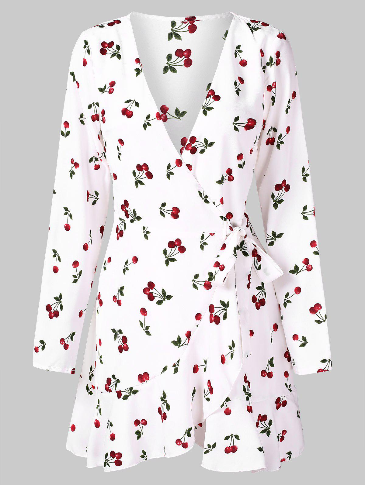 Sale Full Sleeve Cherry Print Wrap Dress