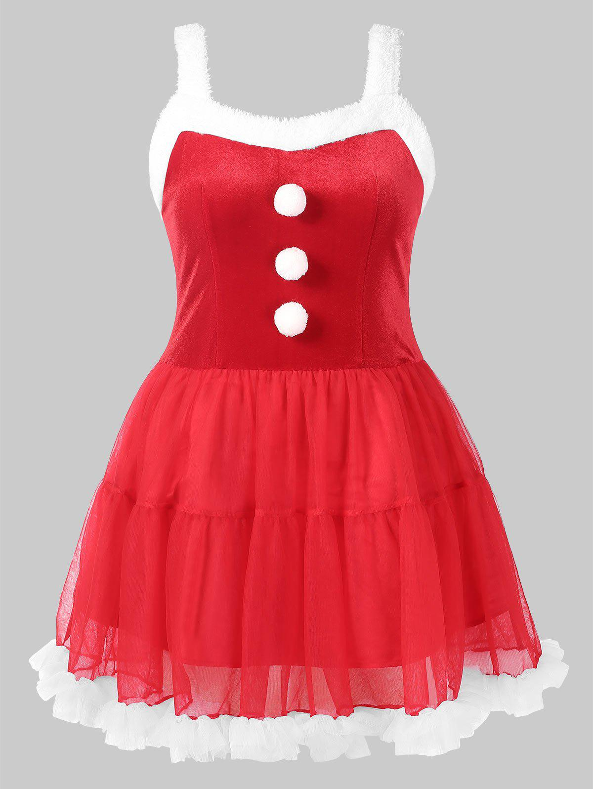 Shops Fluffy Pom Pom Trim Christmas Plus Size Dress