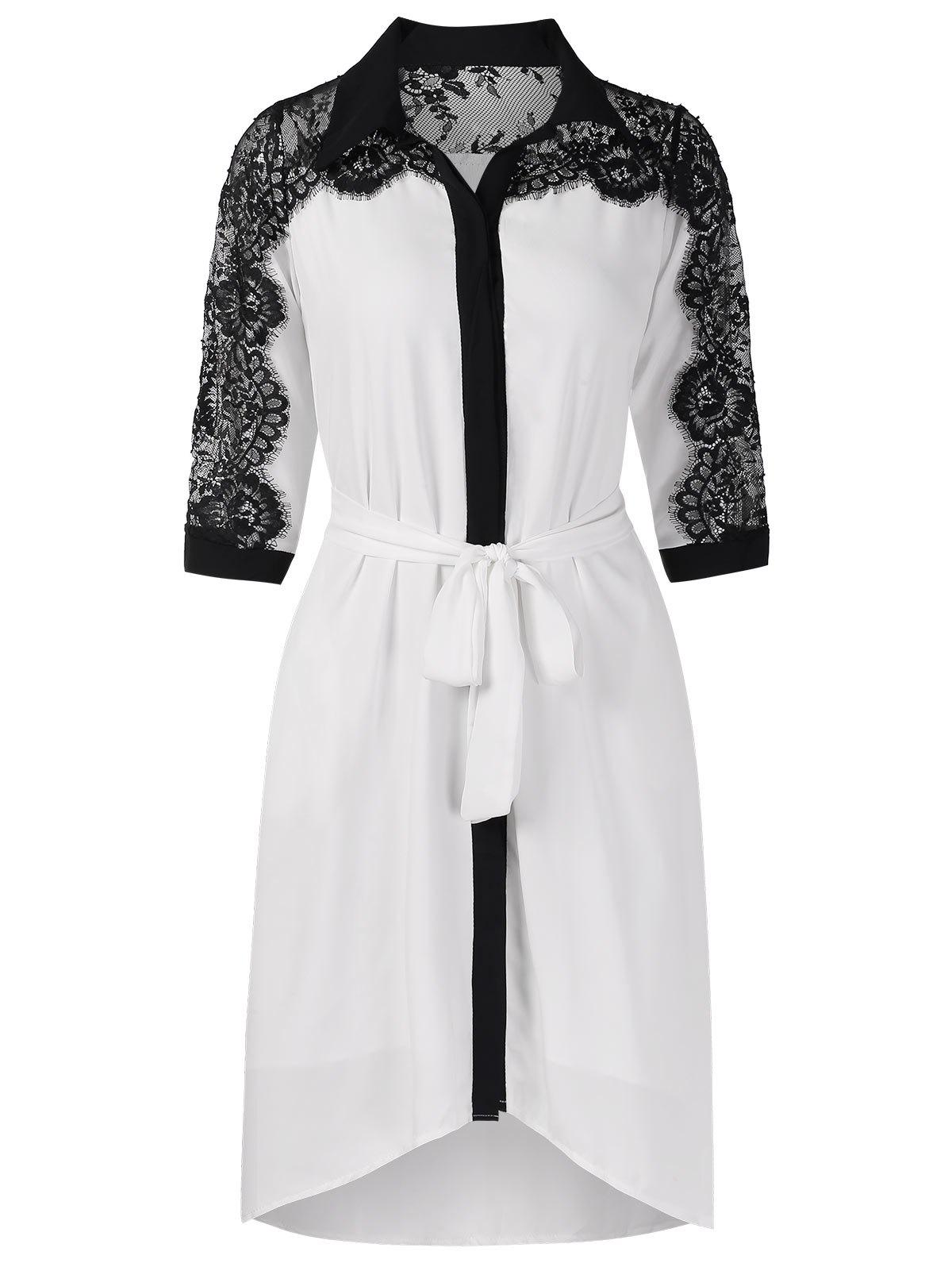 Buy Belted Lace Panel Casual Dress