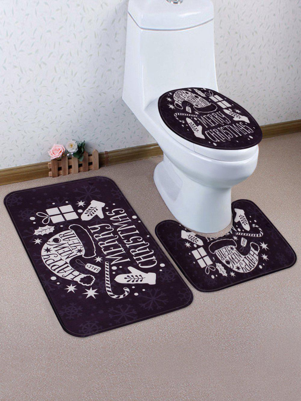 Latest Merry Christmas Hat Printed 3 Pcs Bathroom Toilet Mat