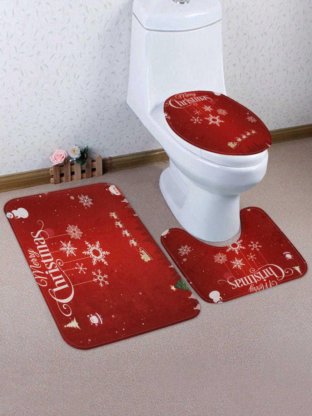 Sale Merry Christmas Snowflake Printed 3 Pcs Bathroom Toilet Mat