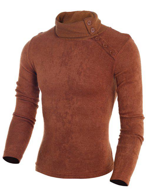 Store Stand Collar Button Embellished Sweater