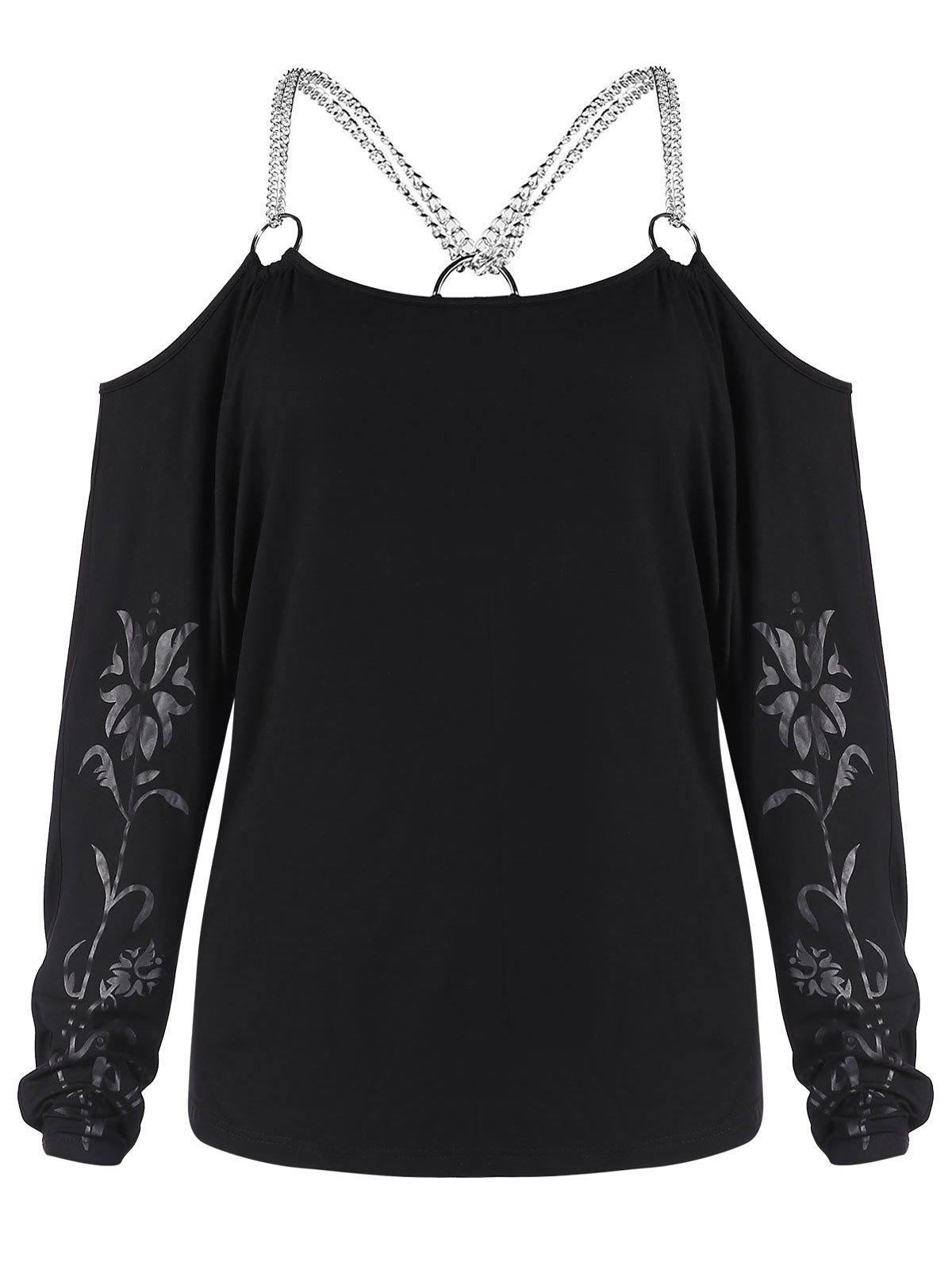 Outfit Cold Shoulder Chains Patterned Tee