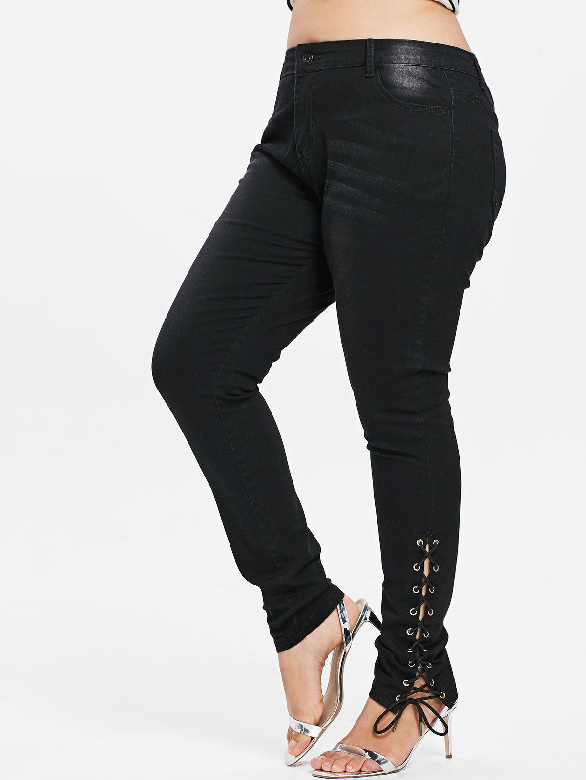 Fashion Plus Size Side Lace Up Zipper Fly Jeans