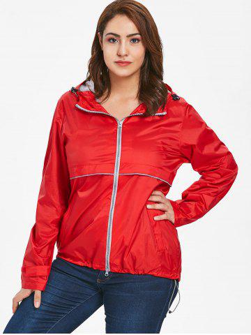 Lightweight Plus Size Hooded Zip-Up Jacket