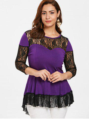a1e0eb25922 Plus Size Lace Insert High Low Tunic Blouse