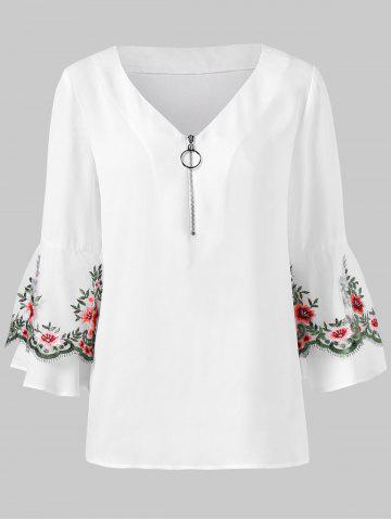 Embroidered Mesh Insert Half Zipper Blouse