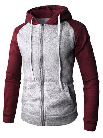 Color Block Zip Up Drawstring Hoodie