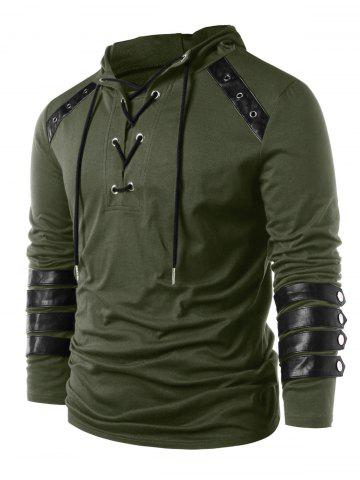 Hooded Lace Up Sweatshirt