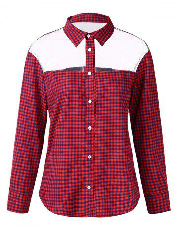 Gingham Print Mesh Panel Shirt - RED - L