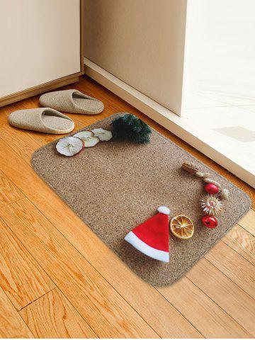 3D Christmas Hat Sandbeach Printed Decorative Flannel Bath Mat