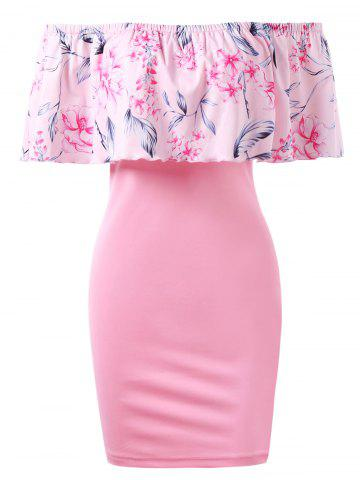 Off Shoulder Floral Bdoycon Dress with Flounce