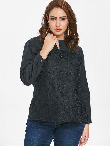 Plus Size Floral Embroidery Blouse