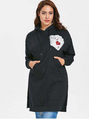Plus Size Playing Card Patch Hoodie