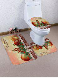 Christmas Candle Printed 3 Pcs Bathroom Toilet Mat -