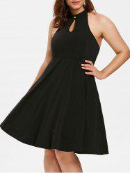 Plus Size Keyhole Flared Dress -