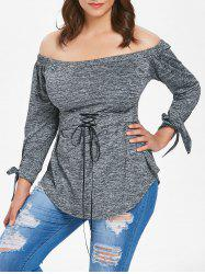 Plus Size Tie Cuff Off The Shoulder T-shirt -