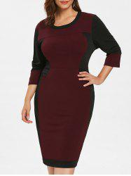 Plus Size Patchwork Bodycon Dress -