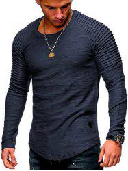 Solid Color Patch Detail Pleated Long Sleeve Tee -
