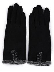 Vintage Button Solid Color Full Finger Gloves -