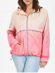 Hooded Plus Size Ombre Zip-Up Jacket -