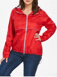 Lightweight Plus Size Hooded Zip-Up Jacket -