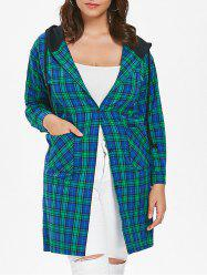 Plus Size Plaid Hooded Coat -
