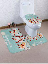 Christmas Cartoon Printed 3 Pcs Bathroom Toilet Mat -