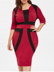 Plus Size Color Block Bodycon Dress -
