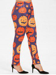 Plus Size Halloween Pumpkin Leggings -