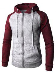 Color Block Zip Up Drawstring Hoodie -