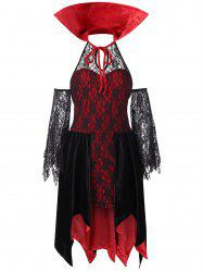 High Collar Halloween Costume Lace Dress -