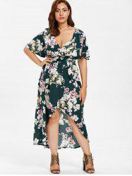 Floral Print Plus Size High Low Dress -