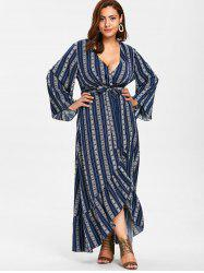 Plus Size Ethnic Maxi Wrap Dress -