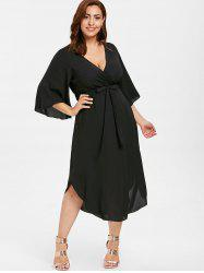 Plus Size Drawstring Asymmetric Dress -