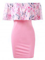 Off Shoulder Floral Bdoycon Dress with Flounce -
