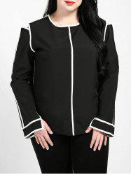 Plus Size Contrast Trim Blouse -