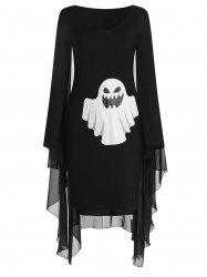 Halloween Ghost Print Capelet Dress -