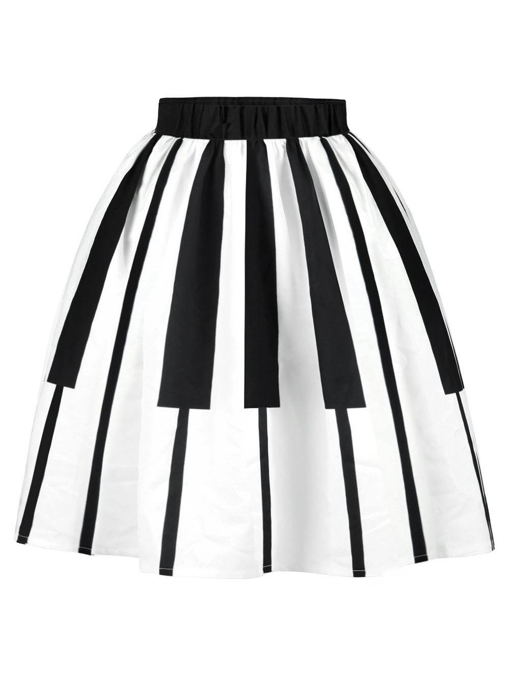 0548e72d50 36% OFF   2019 Plus Size Piano Pattern Flared Skirt
