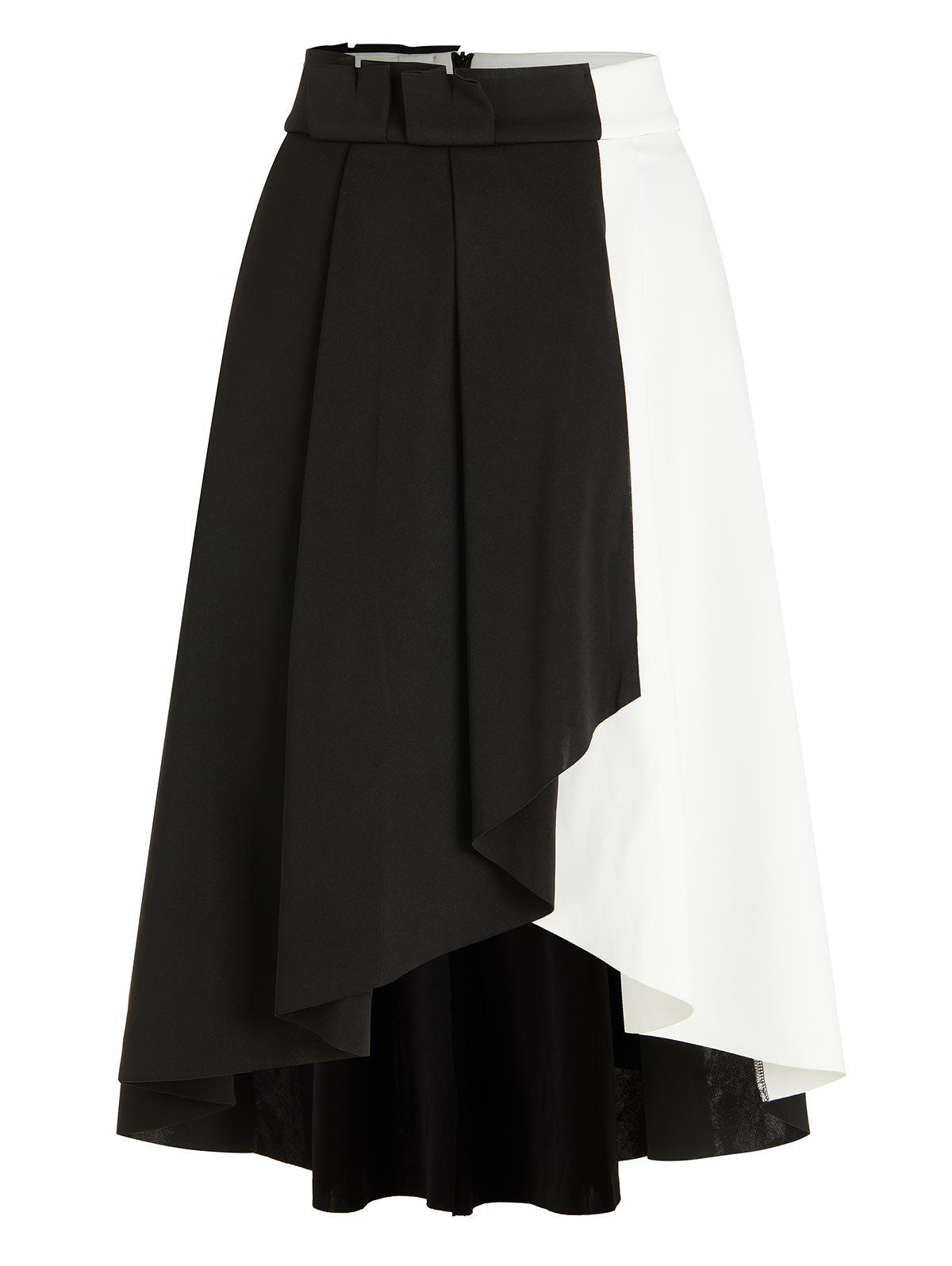 Trendy Black and White Two Tone Asymmetric A Line Midi Skirt