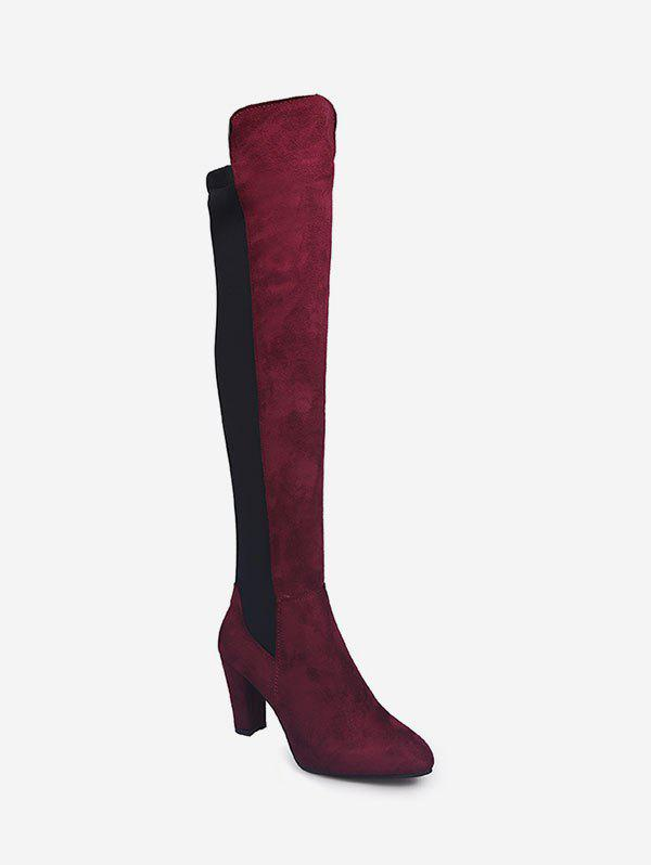 Unique Color Block High Heel Thigh High Boots