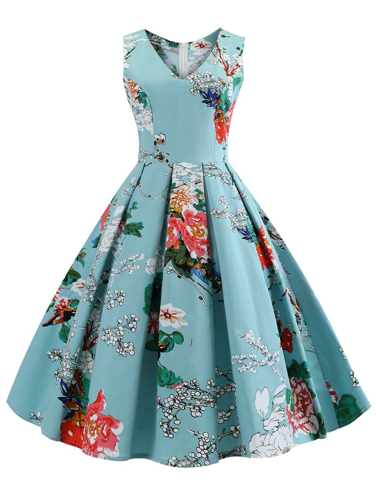 Cheap Plus Size Floral Flared Vintage Dress