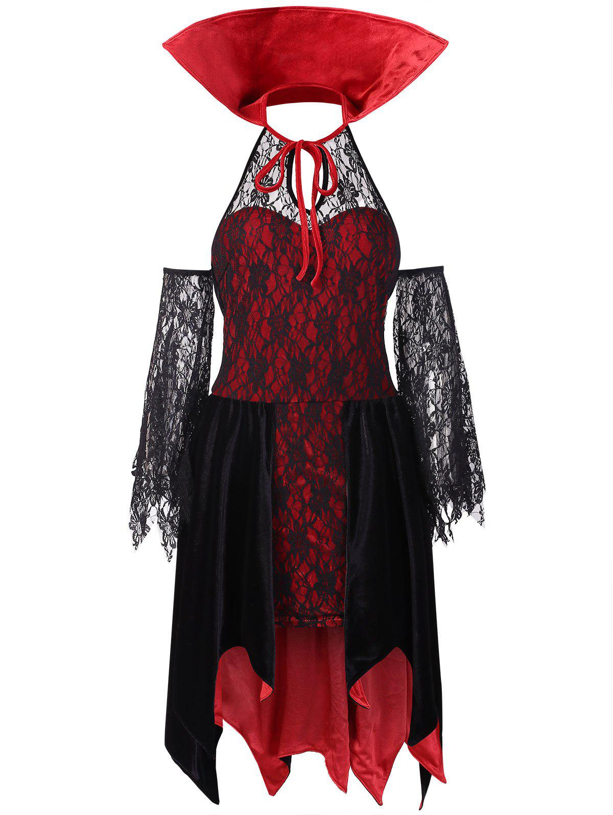 Sale High Collar Halloween Costume Lace Dress