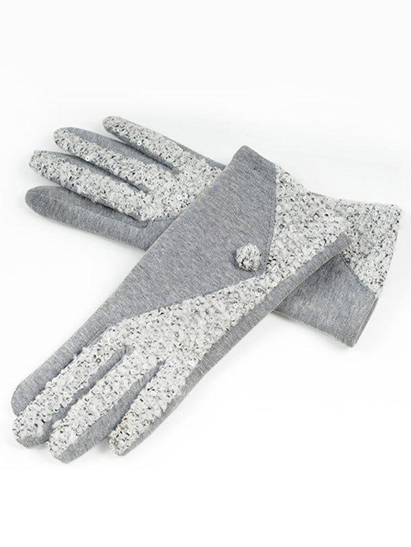 Store Color Block Full Finger Winter Gloves