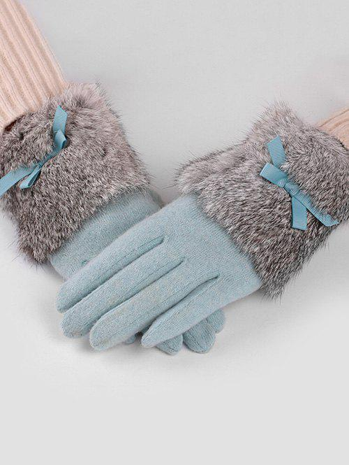Chic Winter Bowknot Faux Fur Gloves